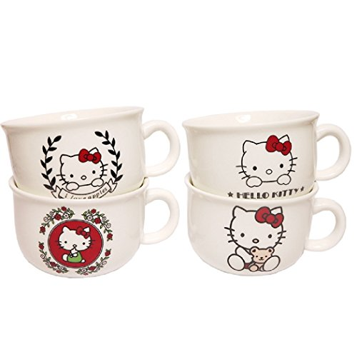 Hello Kitty Tea Cup (Set of 4),Mark cup, 5.1 oz,Best Office Cup & Birthday Gift]()