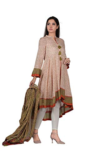 YELLOW Traditional Ethnic Embroidery Digital Printed Kurti with 100% Cotton Dupatta Ready to wear