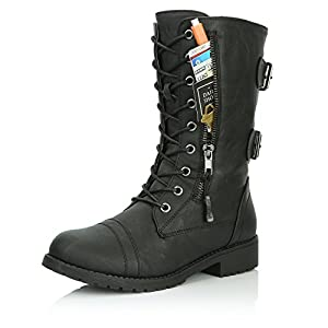DailyShoes Women's Military Lace Up Buckle Combat Boots Mid Knee High Exclusive Credit Card Pocket, Twlight Black, 9 B(M)