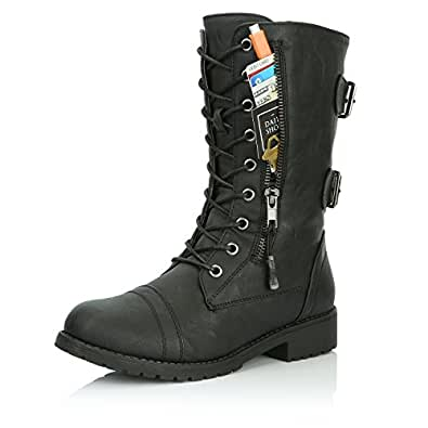 DailyShoes Women's Military Lace Up Buckle Combat Boots Mid Knee High Exclusive Credit Card Pocket, Twlight Black, 5 B(M)
