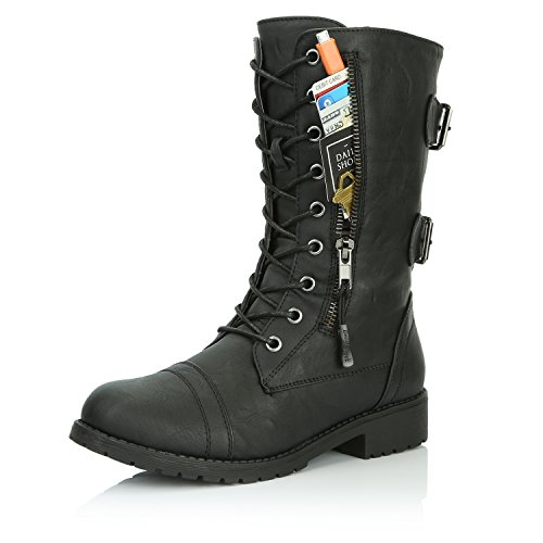 (DailyShoes Women's Military Lace Up Buckle Combat Boots Mid Knee High Exclusive Credit Card Pocket, Twlight Black, 5)