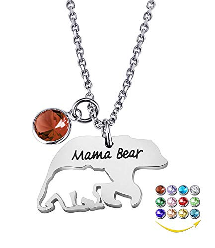 YOUFENG Mom Necklace Mama Bear Necklaces Pendant 12 Months Birthstone Jewelry for Women Girls (January Birthstone)