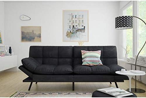 Mainstay.. Memory Foam Futon, Black Suede, Fabric, Wood, Metal Free Clean Fabric Cloth Black Suede