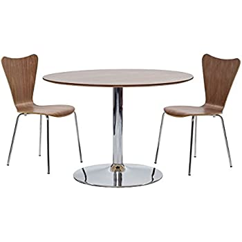 This Item LexMod Rostrum Dining Table In Walnut Arne Jacobsen Style Series 7 Side Chair Set