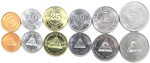 Nicaragua 6 Coins Set UNC 5 centavos - 5 cordobas from Central America Collectible Coins for Your Coin Album, Coin Holders OR Coin Collection