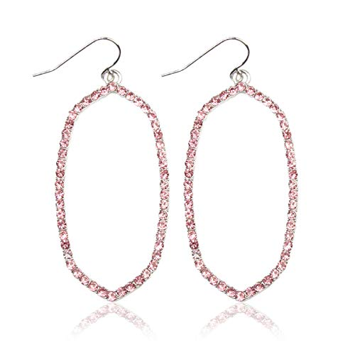 Sparkly Simple Lightweight Geometric Open Hoop Drop Earrings - Cut-Out Dangles Teardrop/Pear/Pointy Oval/Marquise/Circle Cubic Zirconia Crystal/Multi Rhinestone/Acrylic Pearl (Oval - Silver Pink) (Pull Light Crystal)