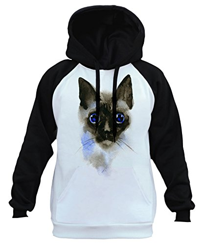 Men's Watercolor Siamese Cat Head Tee B876 Ply Raglan for sale  Delivered anywhere in USA
