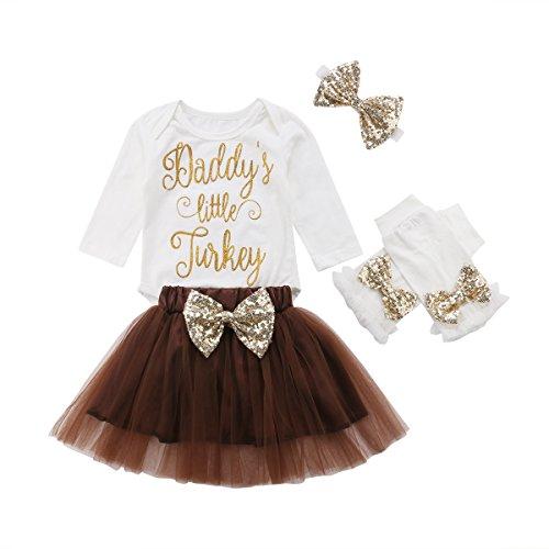 Infant Baby Girls Thanksgiving Outfit Newborn Romper Tops + Tutu Skirt + Leg Warmers Headband 4PCS Set
