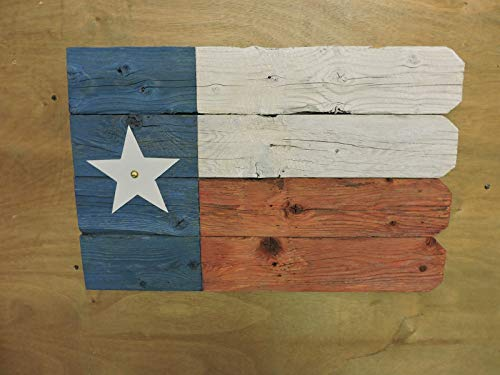 Texas Flag (#5) - recycled fence wood with distressed paint; with picket fence ()