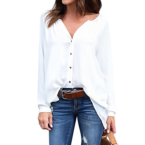 Manches Shirt Button Blanc Tops Col 4 Noir 3 Blouse V XL Luxspire Mode Fminine Rwx8qE6a