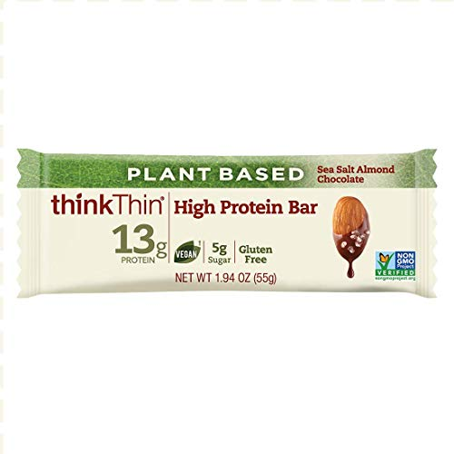 Almond Thins (Plant-Based High Protein Bars by thinkThin - On The Go, 13g Protein, Low Sugar, Gluten Free, Non-GMO - Sea Salt Almond Chocolate (10 Bars))