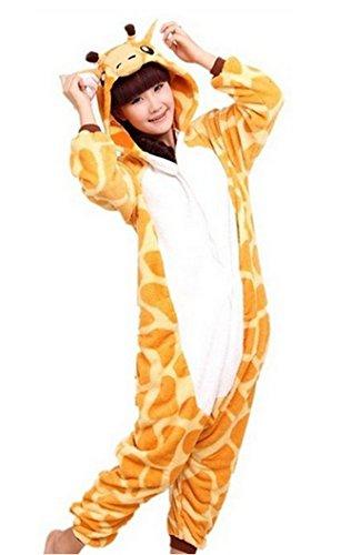 Lath.pin Unisex Costume Animal Cosplay Onesie Adult Pajamas Anime Cartoon Sleepwear (M, Giraffe) (Cute Animal Costumes For Men)