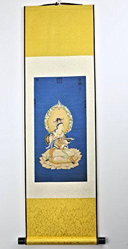 Silk Scroll Painting (Reproduction): Guanyin (观世音菩萨) sitting on lotus blossoms in meditation by Chinalit.com