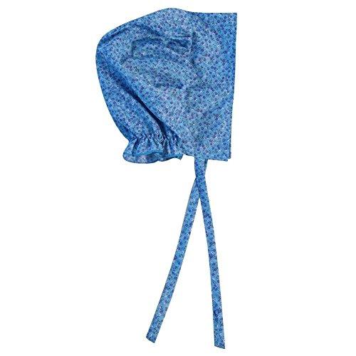 (Making Believe Girls Basic Calico Pioneer Bonnet (One Size, Blue))