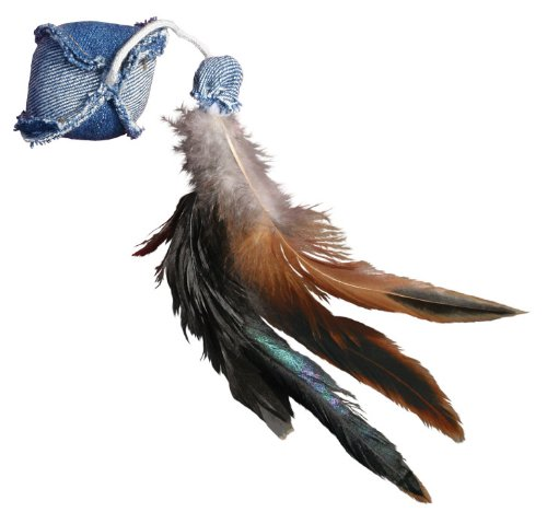 KONG Denim Ball with Feathers Catnip - Feathers Denim