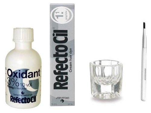 REFECTOCIL COLOR KIT - Graphite Cream Hair Dye + Liquid Oxidant 3% 1.7oz + Brush + Mixing Dish (Graphites Cream)