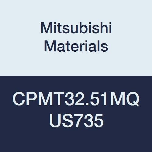 Mitsubishi Materials CPMT32.51MQ US735 CVD Coated Carbide CP Type Positive Turning Insert with Hole, Rhombic 80°, 0.375
