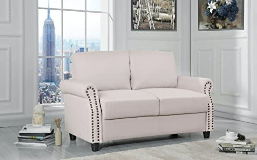 Sofamania Classic Living Room Linen Loveseat with Nailhead Trim and Storage Space Beige