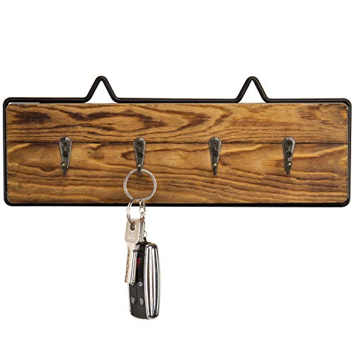 Rack Four Hook Key - MyGift Rustic Wood & Wire Wall-Mounted 4-Hook Key Rack