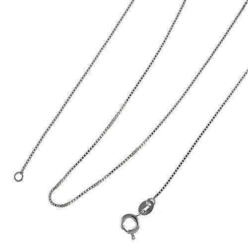 Chaîne pour collier - Plaqué platine 750/00 18K carats - Bijou fantaisie haut de gamme - Blanc - Vénitienne 1mm - 45+5cm - Cadeau Femme pas cher - Mes Bijoux Bracelets