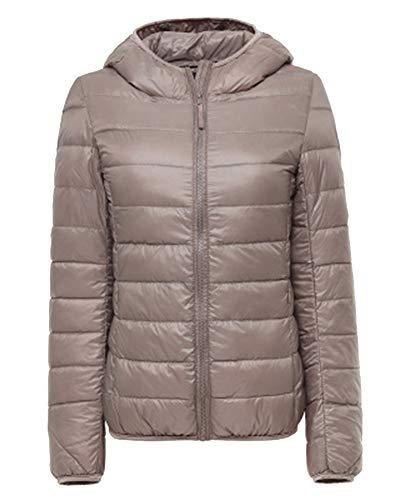 ZiXing Women's Hooded Ultra Light Packable Down Puffer Jacket Coat Quilted Lightweight Outdoor Down Parka Khaki
