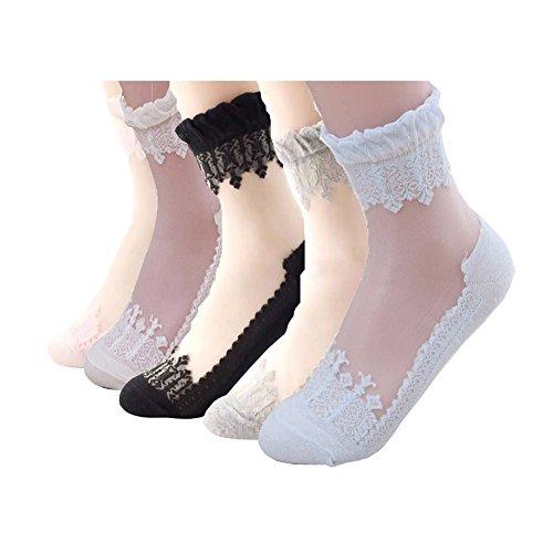 (Women Lace Socks Ruffle Ankle Sock Soft Comfy Sheer Silk Elastic Mesh Knit Frill 5 pairs (Black, blue, pink, khaki, light purple))