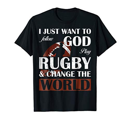 Rugby World Cup T-shirts - I Follow God, Play Rugby And Change The World Funny T-shirt