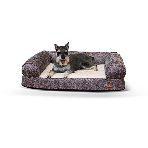 K&H Pet Products Bomber Memory Sofa Pet Bed  Large Brown 30