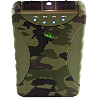 SadoTech 10400 mAh Dual USB Portable Battery Charger Pack for All USB Devices is Weatherproof, Shockproof, Dustproof with Bright LED Flashlight, Military Grade - Green Camouflage