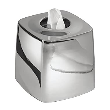 mDesign Facial Tissue Box Cover/Holder for Bathroom Vanity Countertops - Polished Stainless Steel