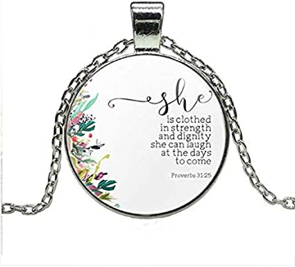 Custom Bible Quote Jewelry Proverbs 31:25 Biblical Verse Quote Jewelry She is Clothed in Strength and Dignity Necklace SCRIPTURE Jewelry
