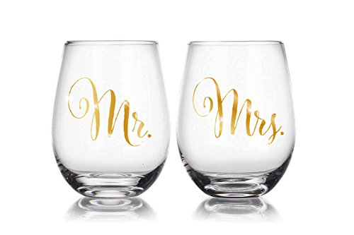 Mr & Mrs 22 oz Stemless Wine Glasses Set of 2, Gift for Wedding Married Couple, for Engagement Gifts, anniversary gift Christmas Gift …
