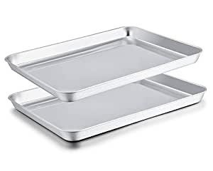 TeamFar Baking Sheet Set of 2, Stainless Steel Baking Pans Tray Cookie Sheet, Non Toxic & Healthy, Mirror Finish & Rust Free, Easy Clean & Dishwasher ...
