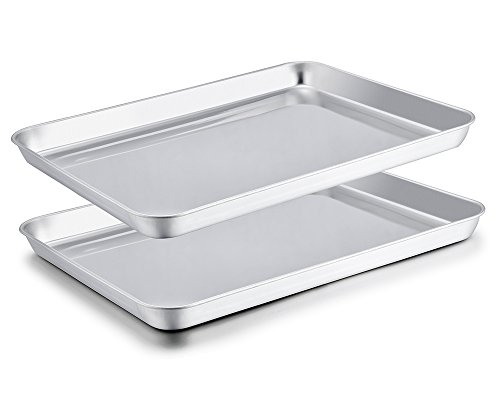 Stainless Steel Steel Cookie Sheet - TeamFar Baking Sheet Set of 2, Stainless Steel Baking Pans Tray Cookie Sheet, Non Toxic & Healthy, Mirror Finish & Rust Free, Easy Clean & Dishwasher Safe