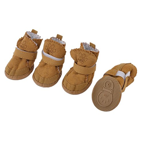 URBEST Detachable Closure Puppy Dog Shoes Booties Boots Brown 2 Pairs(M)
