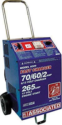 Associated Equipment 6009 6/12V 70/60/2 Amp Charge 265 Amp Cranking Assist Charger with Wheels