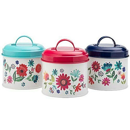 Tableware English - English Tableware Company Sabina Field Flowers Design Tea Coffee Sugar Storage Tin Canister Set of 3