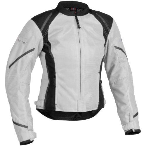 Tex Leather Jacket Mesh (Firstgear Mesh-Tex Women's Motorcycle Riding Jacket (Silver, Medium))