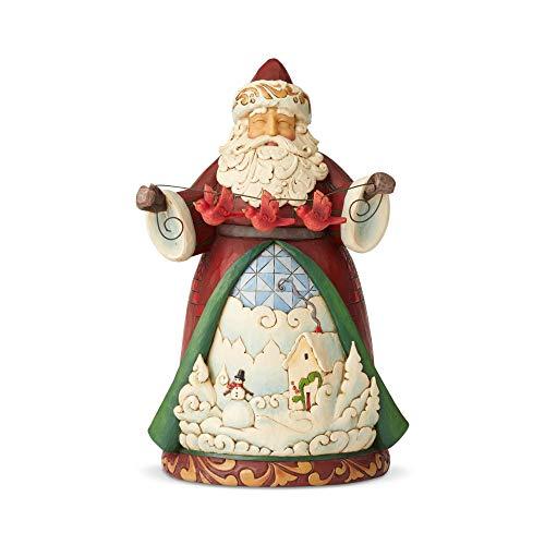 Enesco Jim Shore Heartwood Creek Santa With Cardinal Garland Figurine, 9.2