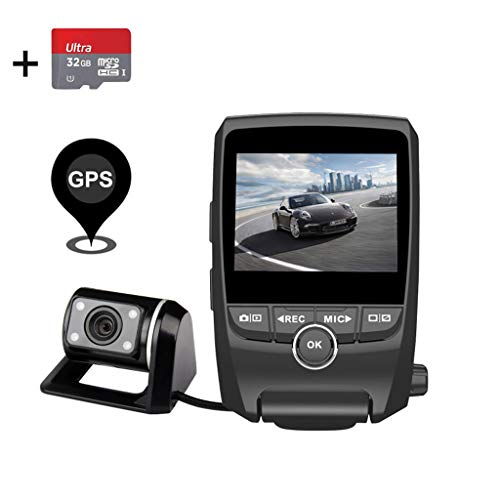 (EACHPAI Dash Cam,Dashboard Camera Recorder with Full HD 1080P Front and Rear 170 Degree Wide Angle Super Capacitor Car Dash Cam,Motion Detection, G-Sensor, Loop Recording with 32GB SD Card)