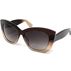Kathy Ireland Women Acetate Crystal Cat-eye Sunglasses Dark to Light Brown Frame
