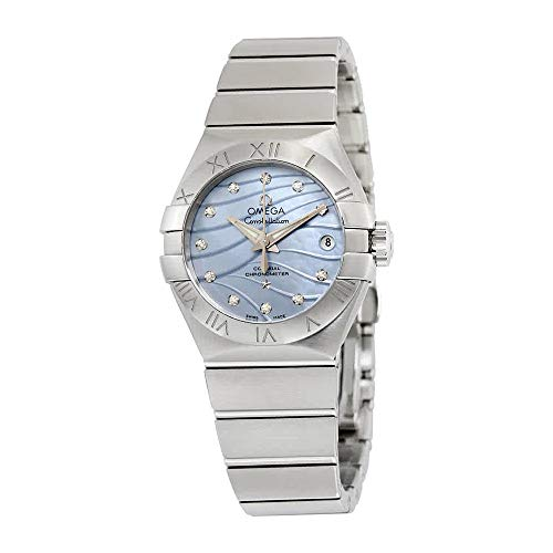 Omega Constellation Co-Axial Blue Mother of Pearl Diamond Dial Stainless Steel Ladies Watch 123.10.27.20.57.001 - Omega Constellation Coaxial