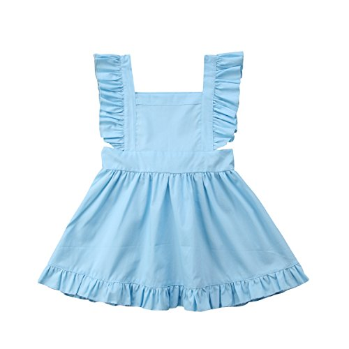 Phoebe Bee Baby Girls Bownot Dresses Light Blue Ruffle Hem Flouncing Sleeveless Toddler Vest Jumpsuit Solid Outfits (Light Blue, 4-5Y) (4 Light Phoebe)