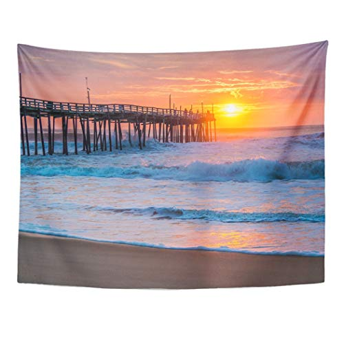 Tarolo Decor Wall Tapestry Orange Surf Serene Sunrise Over Fishing Pier at North Carolina Outer Banks Pink Atlantic 80 x 60 Inches Wall Hanging Picnic for Bedroom Living Room ()