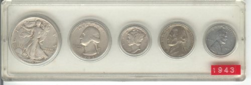 1943 BIRTH YEAR COIN SET, TOTAL OF 5 COINS, SILVER HALF DOLLAR, SILVER QUARTER, SILVER DIME, NICKEL, AND CENT- ALL DATED 1943 AND DISPLAYED IN A PLASTIC HOLDER--NOTE--THESE COINS WILL BE AS GOOD OR BETTER THEN THE PICTURE- NOTHING LESS