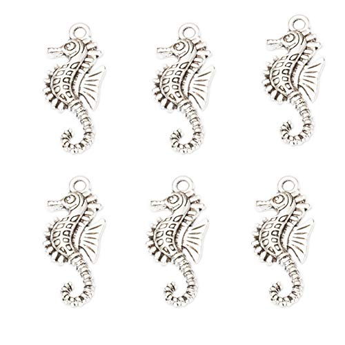 50pcs Vintage Antique Silver Alloy Hippocampus Seahorse Charms Pendant Jewelry Findings for Jewelry Making Necklace Bracelet DIY 29x12mm (50pcs)]()