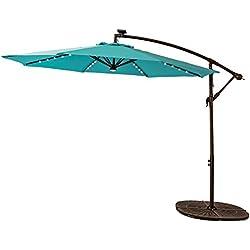 C-Hopetree 10 Feet LED Offset Outdoor Cantilever Umbrella, Solar Light Hanging Patio Umbrella with Cross Base, Crank Winder, Large Round, Aqua Blue