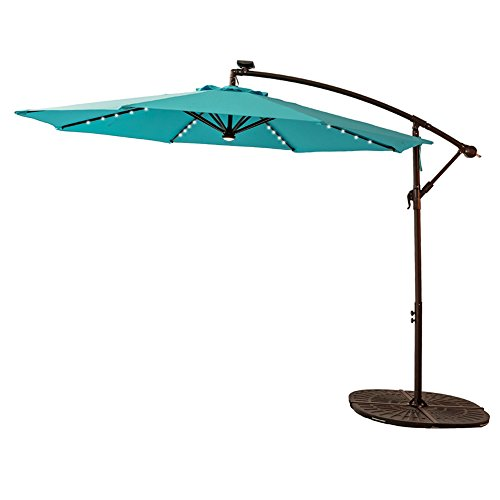 Cheap C-Hopetree 10 Feet LED Offset Outdoor Cantilever Umbrella, Solar Light Hanging Patio Umbrella with Cross Base, Crank Winder, Large Round, Aqua Blue