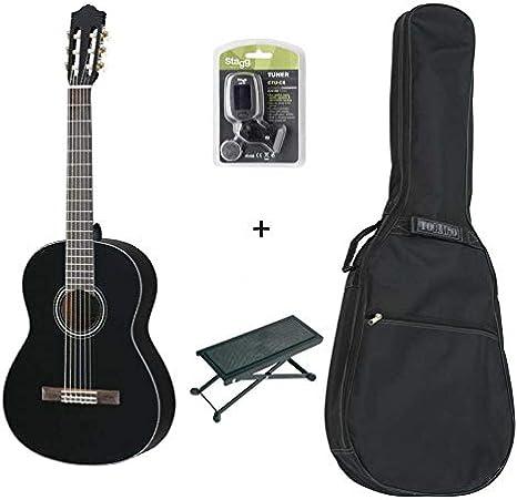 Pack Yamaha c40bl negra – Guitarra clásica (+ funda, afinador y descansa pie): Amazon.es: Instrumentos musicales