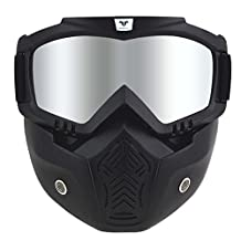 Woljay Motorcycle Riding Mask Harley Style with Goggles for 3/4 Open Face Motorcycle Helmet - Black Mirror Lens